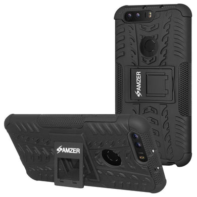 AMZER Shockproof Warrior Hybrid Case for Huawei Honor 8 - Black/Black