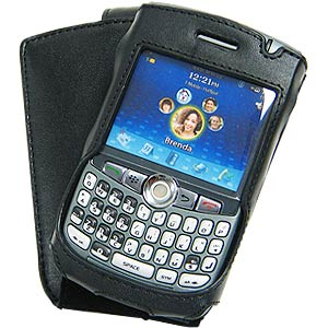 Amzer Leather Flip Type Case - Black for Blackberry 8300, BlackBerry 8300 curve