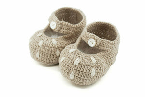 Bambi Cotton Crochet Bootees Natural