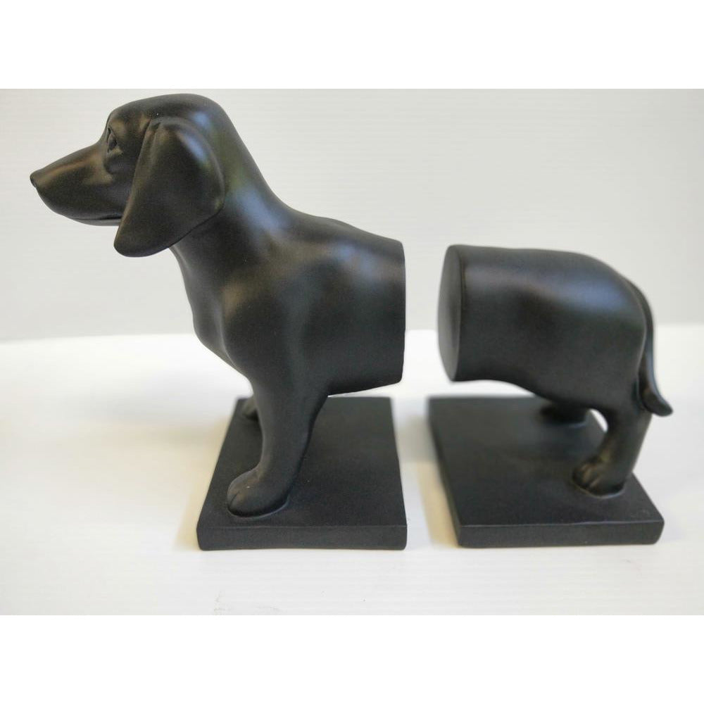 Dachshund Bookends Black Resin