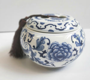 Handpainted Blue & White canister with brown tassel