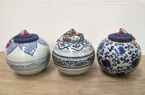 Small Handpainted ceramic pot Plain colours with cloth covered cork Blue & White