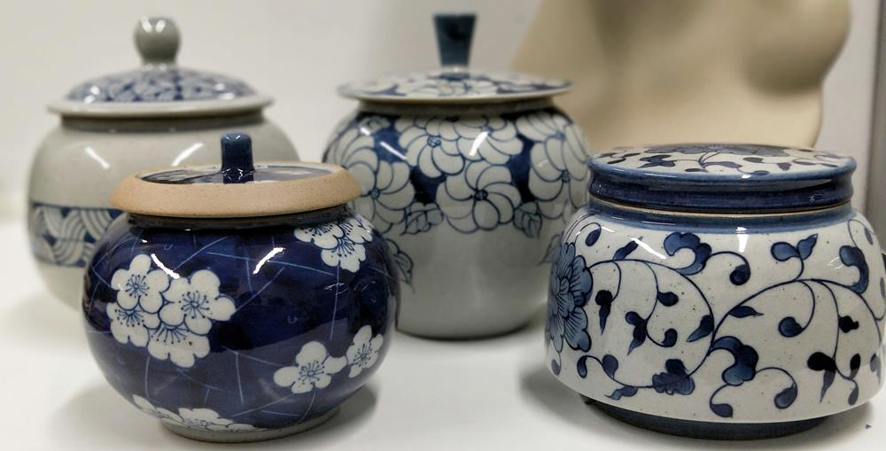 Small Blue White lidded Pot Mixed Designs