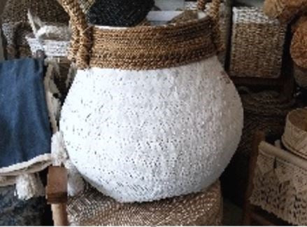 KUNO ROUND WHITE BAMBOO BASKET SMALL
