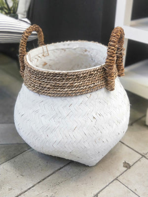 KUNO ROUND WHITE BAMBOO BASKET MEDIUM