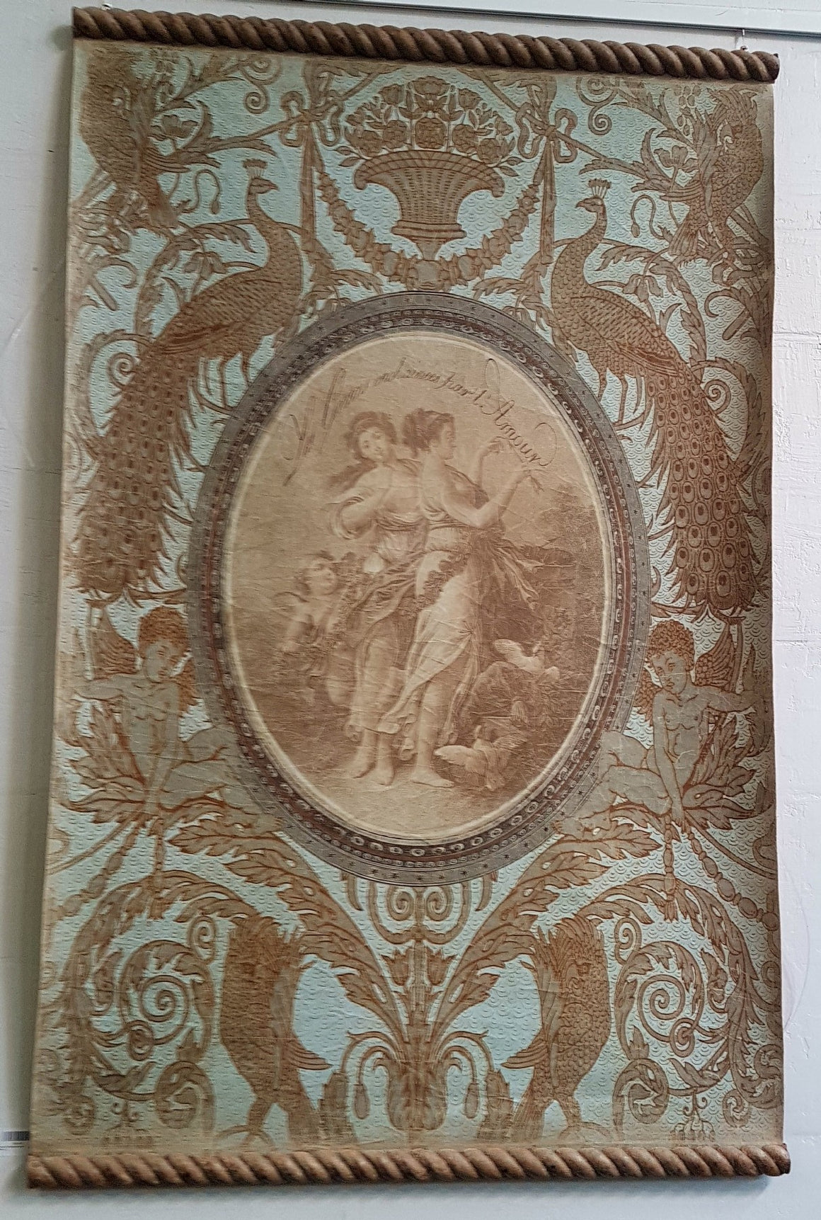 Cherubs & Peacocks with Cockerels. Wallpaper