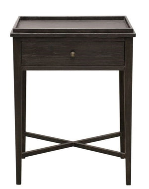 Oak Bedside Table 1 Drawer Charcoal