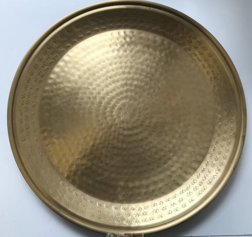 Antique Round Brass Tray 45cm D