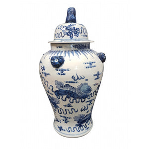 Temple Jar,sm dragons, lion on lid. Blue/White