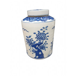 Blue/white straight sided jar w/lid tree pattern 27H