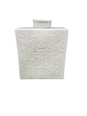 Celadon Rectangle jar w/lid 21H