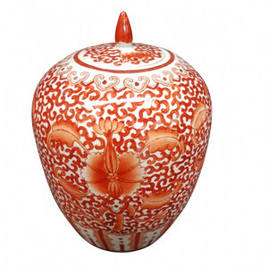 Orange patterned pot withlid