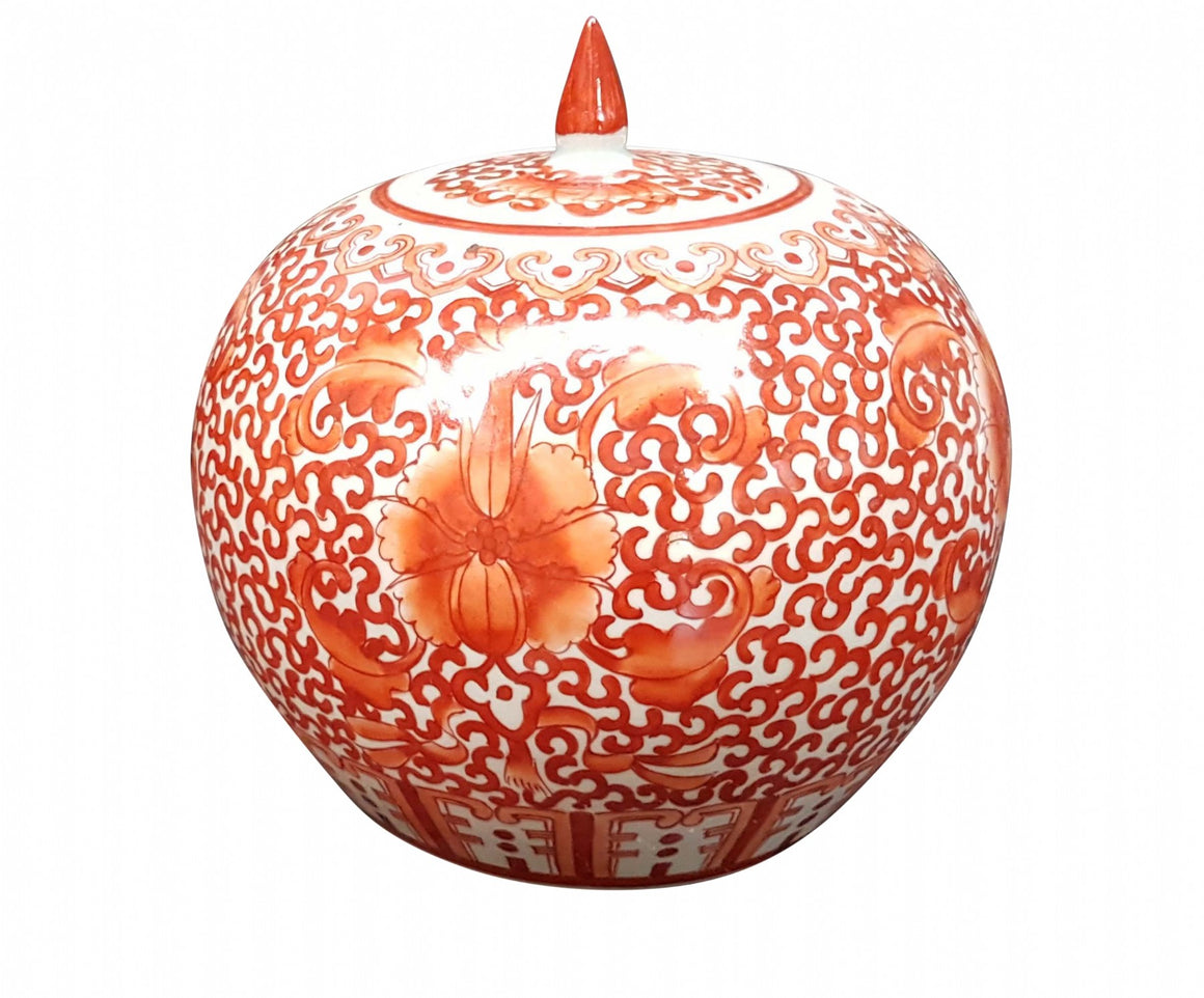 Orange patterned squat pot w/lid 22h