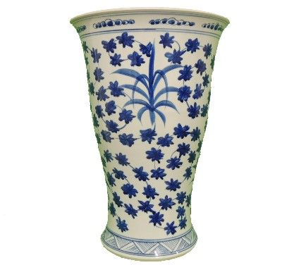 V Shape Vase Blue & White