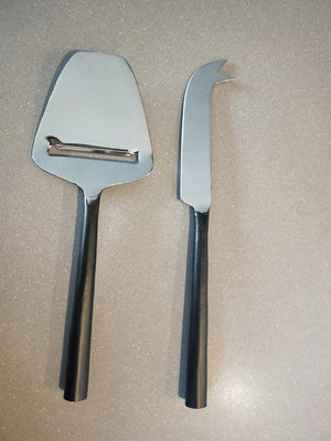 Cheese set of 2 Stainless Steel Antique black handles