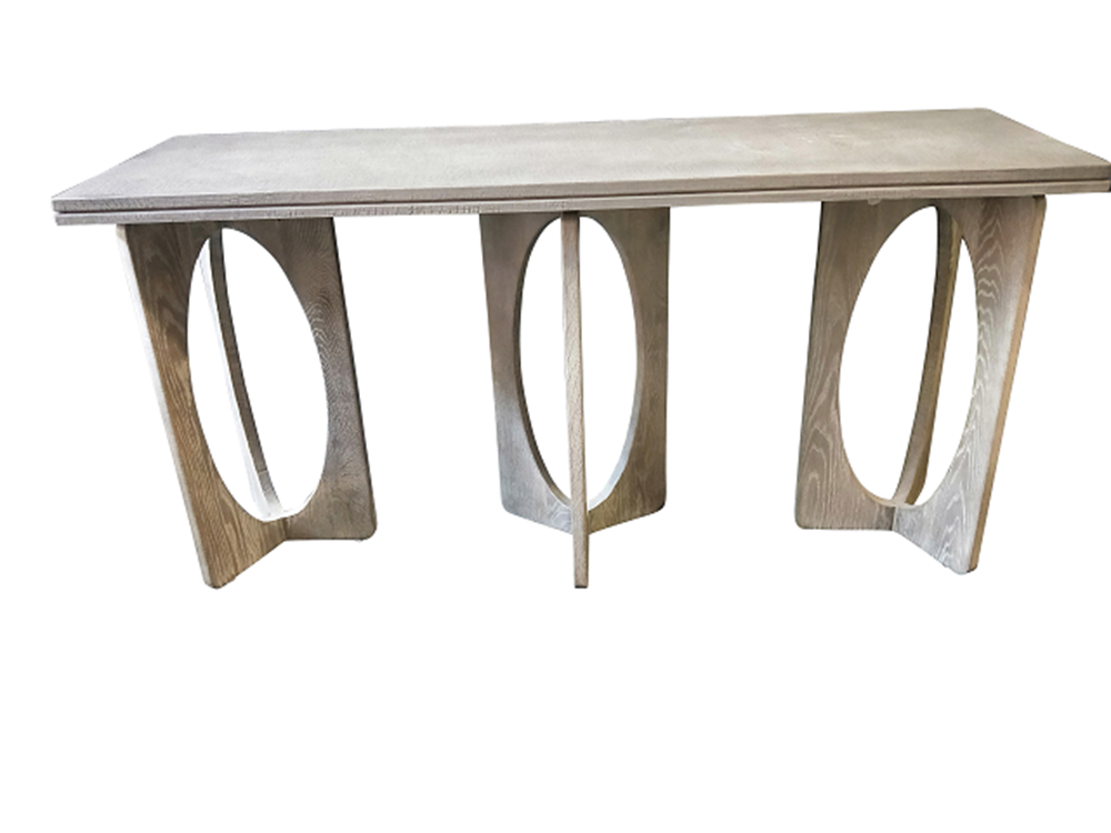Crocodile Concrete top Console with 3 Oak circle legs
