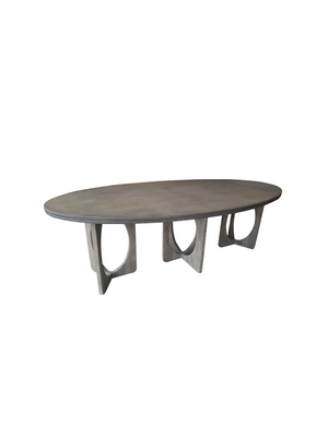 Oval Crocodile Table Concrete top with  3 Oak Circle Legs240Lx120Wx76H
