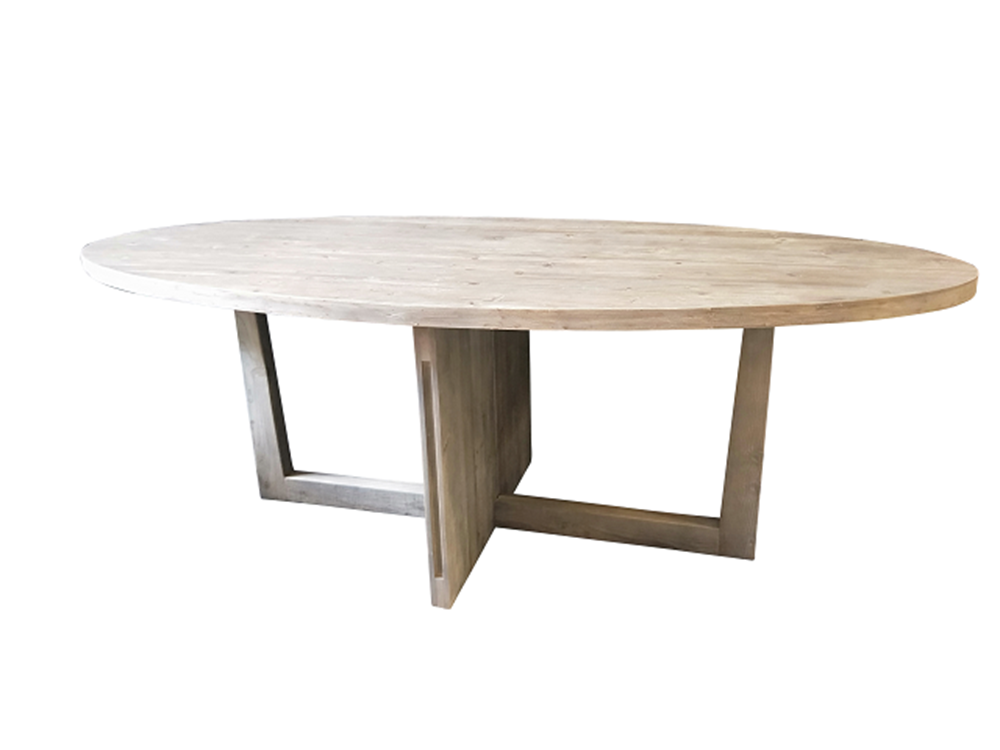 Oval Grey Washed Pine Dining Table220Lx100W