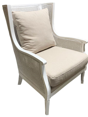 Ritz Rattan Chair antique white 74x82x98H