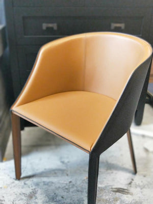 Leather Dining club  ChairTwo tone Tan front and Black  Back77H X52w