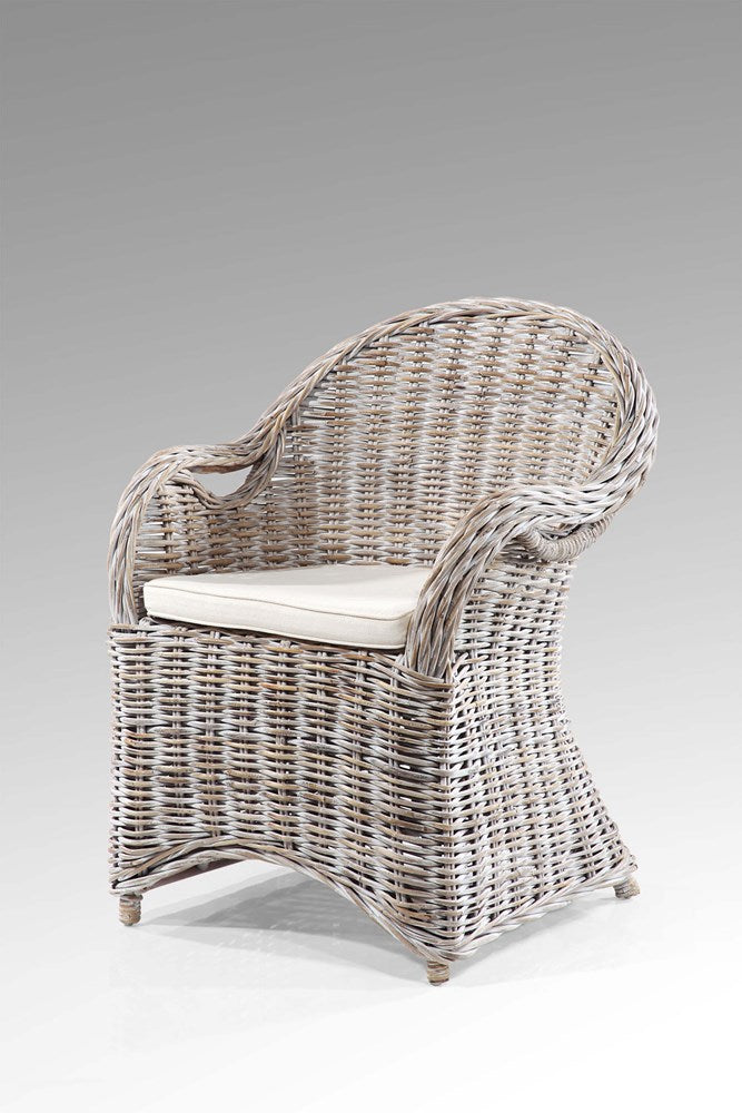 Matapouri kubu arm chair whitewash88h x 64l x 75w