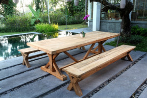 Ohope teak cross leg outdoor dining table 2.4M Table only