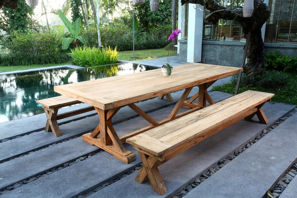Ohope teak cross leg outdoor dining table 2.4M
