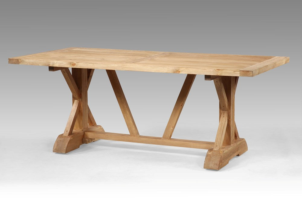 Cross Leg pine dining table  - Natural