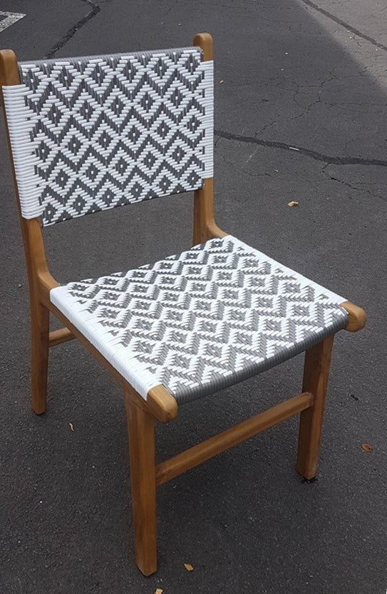 Mangawhai Dining Chair Grey and White Synthetic Outdoor