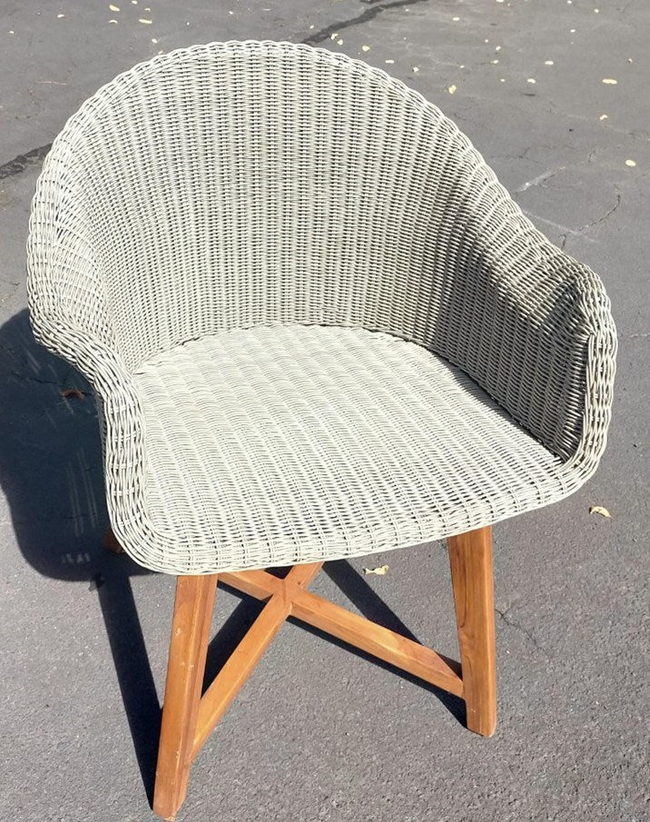 Outdoor Tub  Chair Nat Teak Legs Taupe