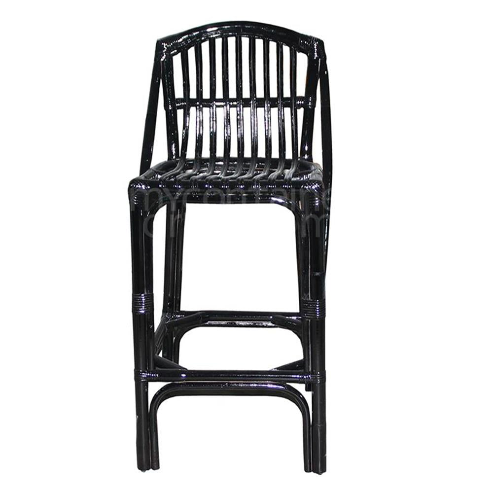 Island Life Bar Stool  Black Rattan