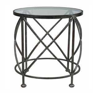 Chicago Side Table Silver Cross Base LGE 65Dx72H
