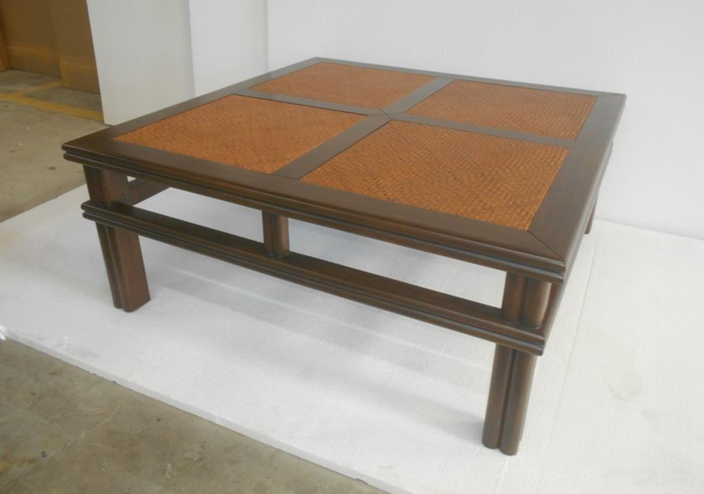 Plantation Coffee Table Mahogany Cane Matting top