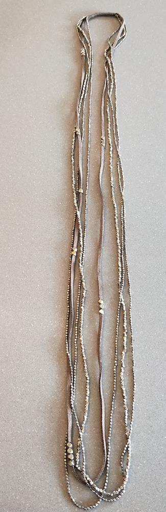 Multi Strand Leather and Brass beads
