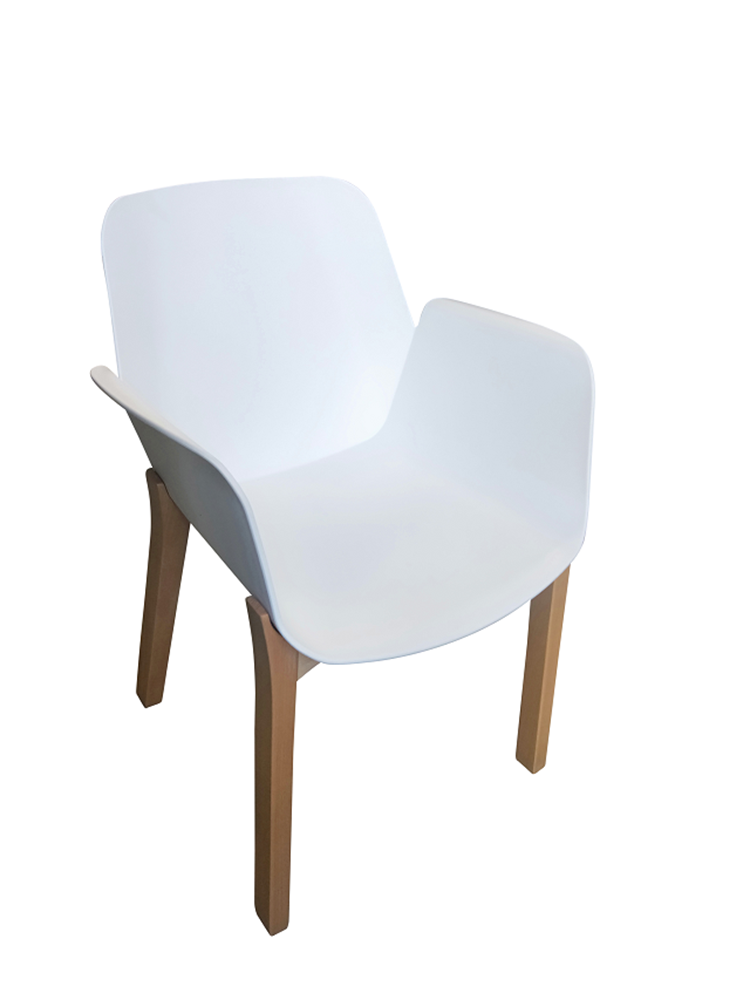 Romi White Moulded Chair Natural wooden leg