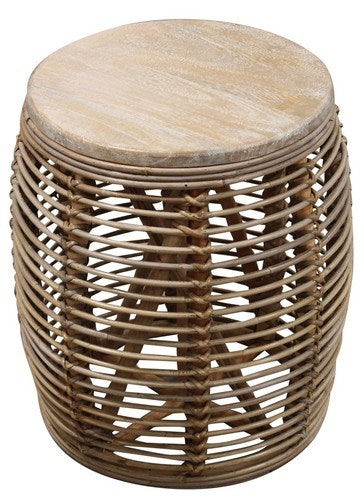 Washed white Rattan Side table / Stool