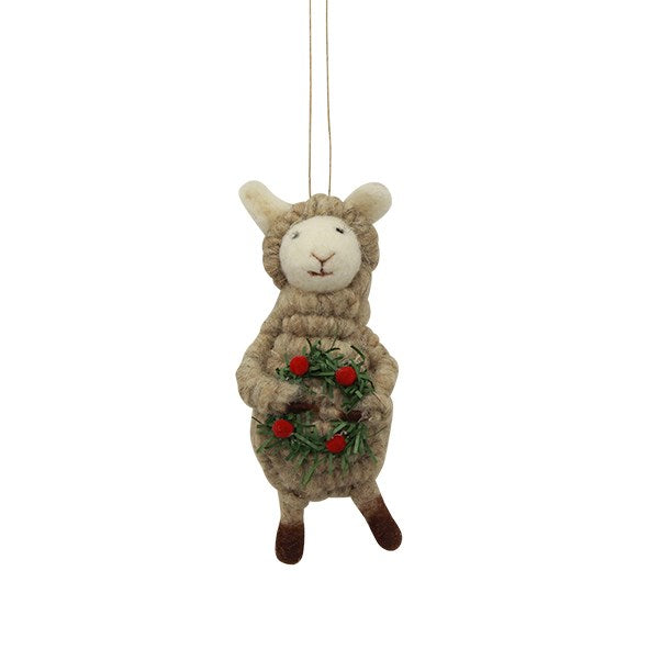 Sheep with Wreath Hanging Decoration 6cmLx5cmWx14cm