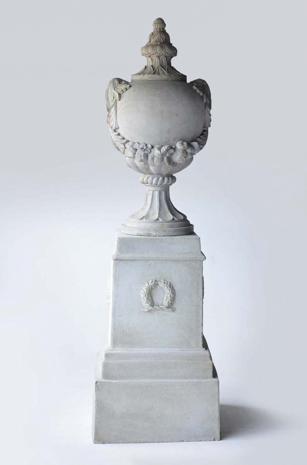 Palladio Urn on Plinth French Lime wash