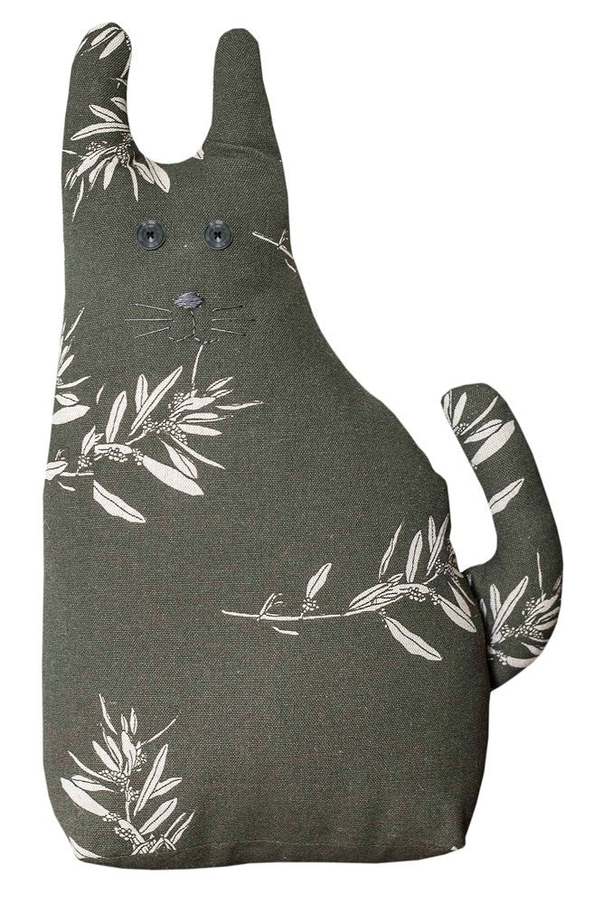 Farm Cat Door Stopper Olive Green 35 x 20cm