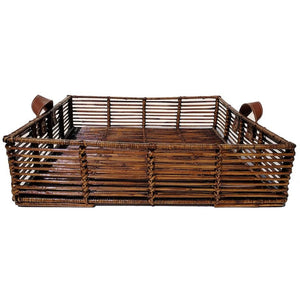 Rustic Tray Leather Handles Large