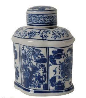 ren oval jar with lid - blue and white