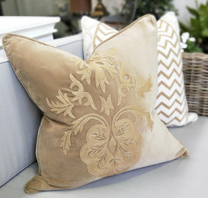 Cushion Cover Caramel velvet Caramel Embroidery