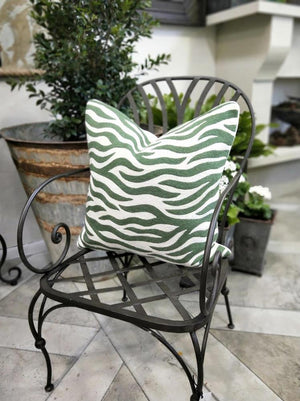 Cushion Cover Green/white  Zebra