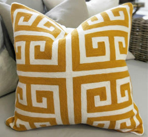 Cushion Cover Ochre/white Greek Key