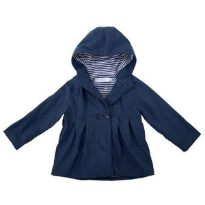 Navy Button Raincoat 1-2 Years