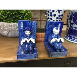 Blue & White Figurine Bookends