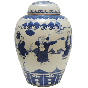Jar round lid with metal ring Blue & white Figurine dancing 44H