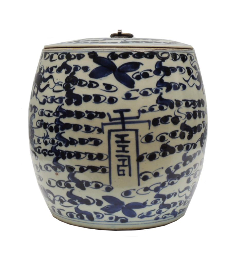 Rounded Pot with flat lid metal ring Chinese text 22H