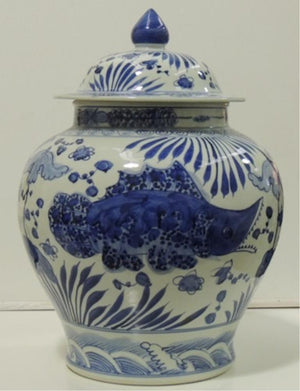 Jar Fish  Blue and white