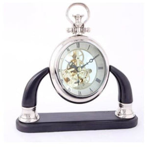 ALUM/ BRASS SEE THRU TABLE CLOCK ON BASE NKL /BLK